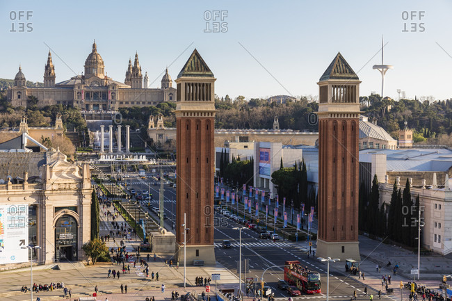 February 25, 2017: Plaza Espana, roundabout with the Venetian Towers and the National Palace, Montjuic, Barcelona, Catalonia, Spain