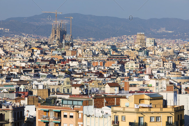 View over rooftops of Barcelona City to the Sagrada Familia, Barcelona, Catalonia, Spain