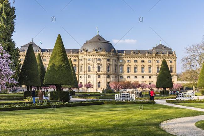 April 8, 2017: Wuerzburg Residence with the Court Gardens, Wuerzburg, Baden-Wuerttemberg, Germany
