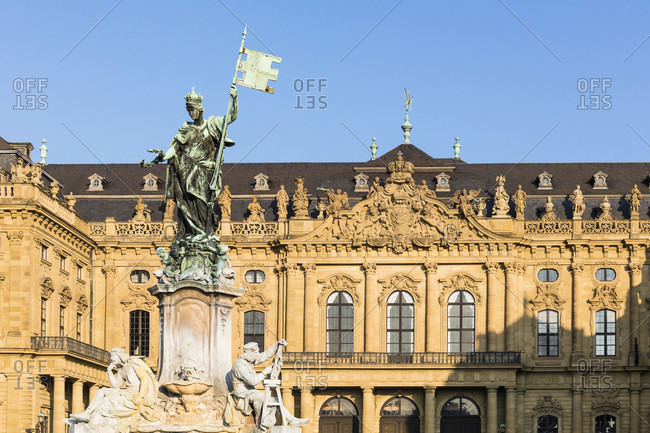 April 8, 2017: The fountain Frankoniabrunnen on the Residence square in front of the Wuerzburg Residence building, Wuerzburg, Baden-Wuerttemberg, Germany