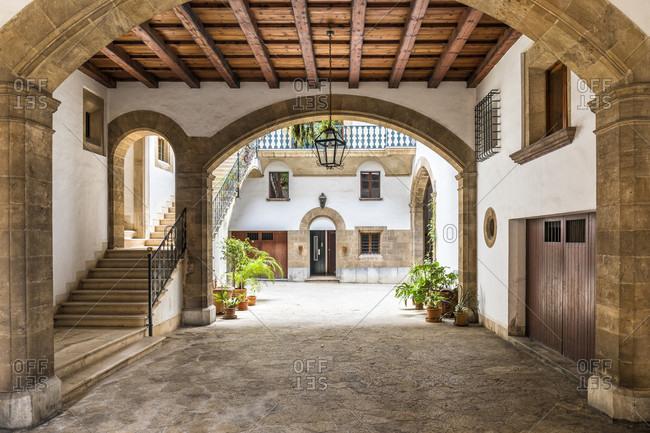 April 26, 2017: Patio of a house in the Old City, Palma de Mallorca, Mallorca, Balearic Islands, Spain