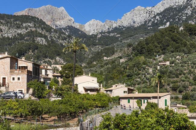 April 21, 2017: Fornalutx and Puig Major (1.445m) in the distance, Sierra de Tramuntana, Mallorca, Balearic Islands, Spain