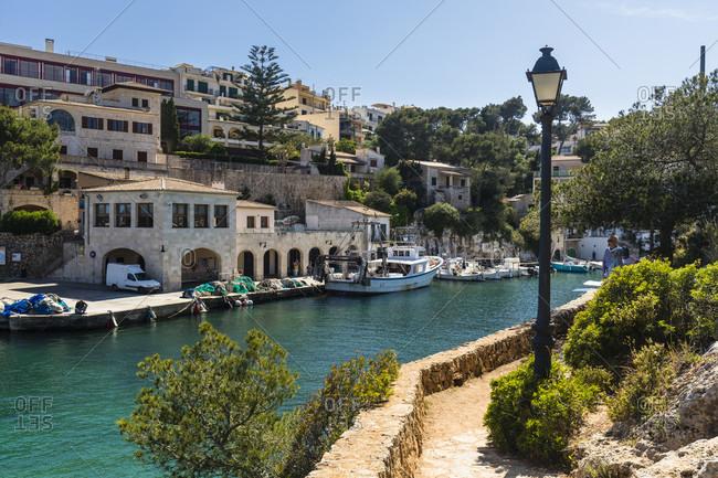 May 15, 2015: Boats in the fishing harbor of Cala Santanyi, Mallorca, Balearic Islands, Spain