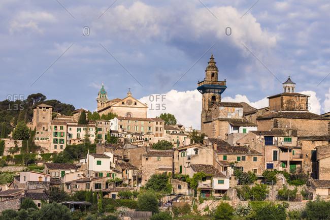 May 15, 2015: Village view with its parish church of Valldemossa, Sierra de Tramuntana, Mallorca, Balearic Islands, Spain
