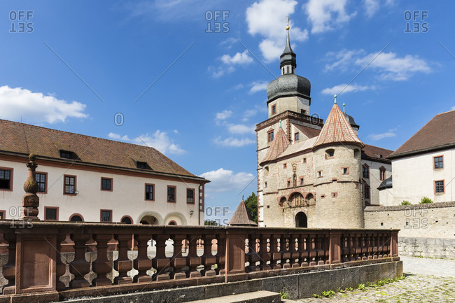 Tower of the fortress Marienberg, Wuerzburg, Lower Franconia, Bavaria, Germany
