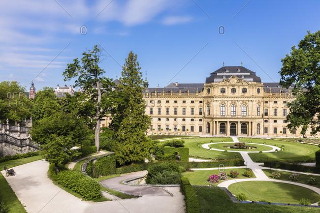 June 13, 2017: Wuerzburg Residence with Court Gardens, UNESCO World Heritage, Wuerzburg, Lower Franconia, Bavaria, Germany