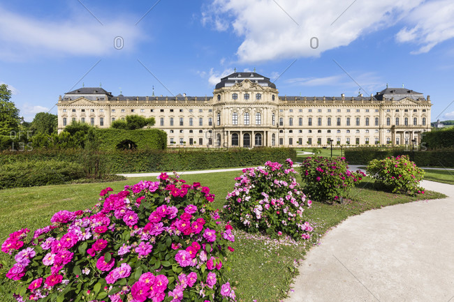 Wuerzburg Residence with roses at the Court Gardens, UNESCO World Heritage, Wuerzburg, Lower Franconia, Bavaria, Germany