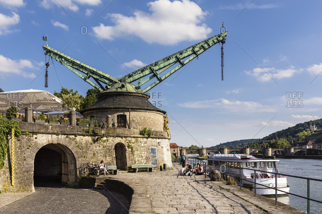 June 13, 2017: Old Crane called Alter Kranen on the banks of the River Main, Wuerzburg, Lower Franconia, Bavaria, Germany