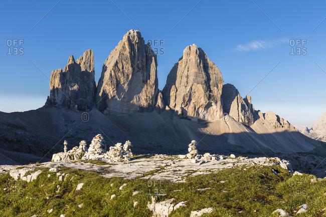 Tre Cime di Lavaredo, Drei Zinnen (2999m), Dolomiti di Sesto Natural Park, Alta Pusteria, Bolzano district, South Tyrol, Alps, Dolomites, Trentino-Alto Adige, Italy