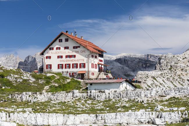 July 19, 2017: Rifugio Tre Cime di Lavaredo-A. Locatelli, Drei Zinnenhütte, Dolomiti di Sesto Natural Park, Alta Pusteria, Bolzano district, South Tyrol, Alps, Dolomites, Trentino-Alto Adige, Italy