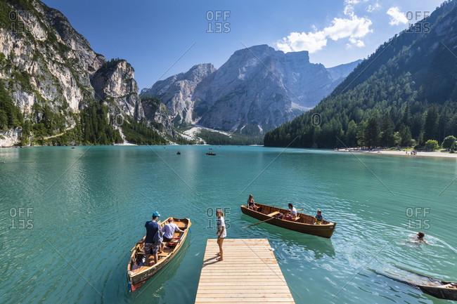 August 1, 2017: Lago di Braies or Lake Prags in front of mount Seekofel (2810m), Prags, South Tyrol, Alps, Dolomites, Trentino-Alto Adige, Italy