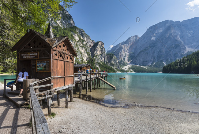 August 1, 2017: Lago di Braies or Lake Prags in front of Kleiner Apostel (1711m) and Seekofel (2810m), Prags, South Tyrol, Alps, Dolomites, Trentino-Alto Adige, Italy