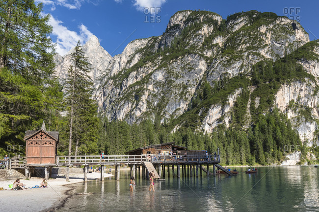 August 1, 2017: Lago di Braies or Lake Prags in front of Gr. Apostel (1947m), Prags, South Tyrol, Alps, Dolomites, Trentino-Alto Adige, Italy