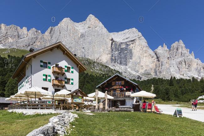 August 3, 2017: Rifugio Stella Alpina and Catinaccio (Rosengarten) in the Valle del Vaiolet, Vigo di Fassa, Val di Fassa, Alps, Dolomites, Trentino, Alto Adige, South Tyrol, Italy