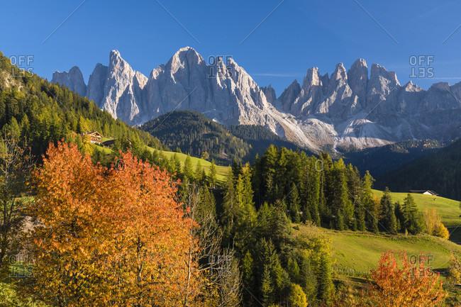 View towards Gruppo delle Odle (Geislerspitzen) (3025m), St. Magdalena, Funes (Villon's), Puez Odle Natural Park (Puez-Geisler Nature Park), Bolzano (Bozen) District, Trentino-Alto Adige, Italy