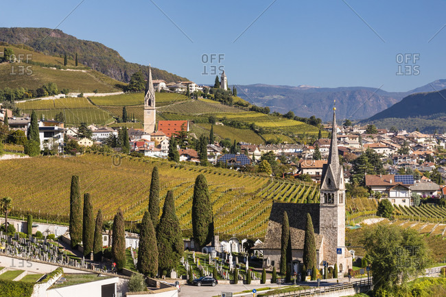 Village with vineyards in autumn and Saint Jacob church in the center, Tramin on the Wine Road, Termeno sulla Strada del Vino, South Tyrolean Wine Road,, Bolzano (Bozen) District, Trentino-Alto Adige, South Tyrol, Italy