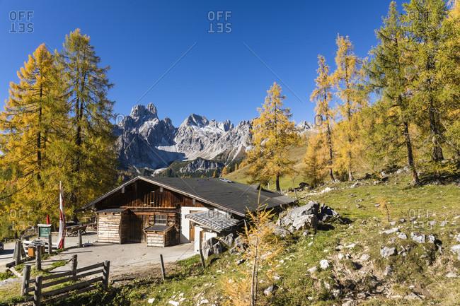October 16, 2017: Krahlehenhuette and Bischofsmuetze (2458m), Sulzenalm, Dachstein Range, Filzmoos, Pongau, Salzburg, Austria