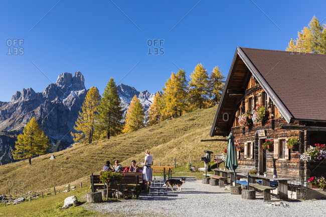 October 16, 2017: Wallehenhuette in front of Bischofsmuetze (2458m), Sulzenalm, Dachstein Range, Filzmoos, Pongau, Salzburg, Austria