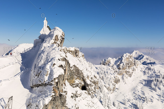 Ice covered church on Mount Wendelstein (1838m), Upper Bavaria, Bavaria, Germany