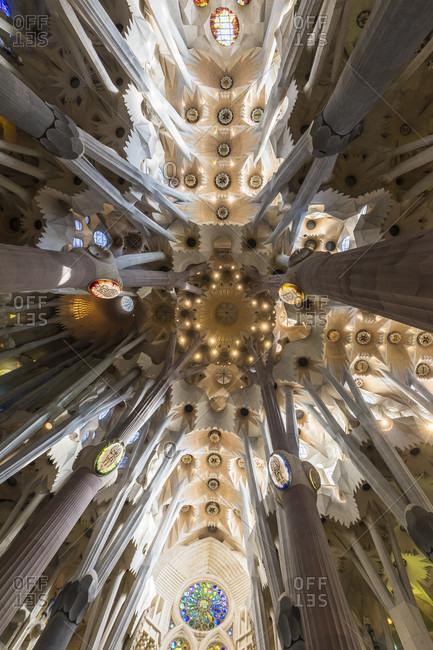 February 21, 2017: Gaudis Cathedral of La Sagrada Familia, interior view, UNESCO World Heritage Site, Barcelona, Catalonia, Spain