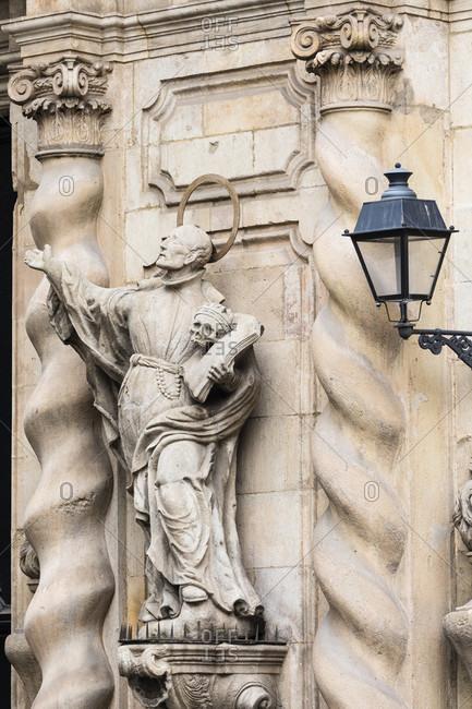 February 23, 2017: Sculpture of Francis Borgia, 4th Duke of Gandía (canonized Jesuit) on the wall of the Parroquet de la Mare de Deu de Betlem, the catholic Church of Bethlemhem, La Rambla, Old City, Barcelona, Catalonia, Spain