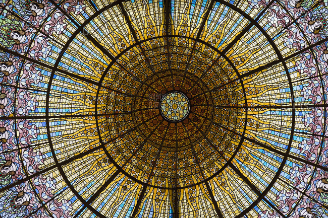 February 23, 2017: Palau de la Musica Catalana, stained glass skylight, detail, UNESCO World Heritage Site, Old City, Barcelona, Catalonia, Spain
