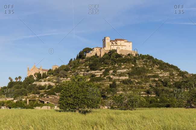 Parish church Transfiguracio del Senyor and the pilgrimage church of Sant Salvador on the calvary, Arta, Mallorca, Balearic Islands, Spain