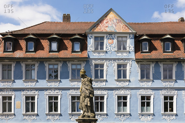 May 15, 2015: Statue of Empress Kunigunde on Lower Bridge, Bamberg, Upper Franconia, Bavaria, Germany