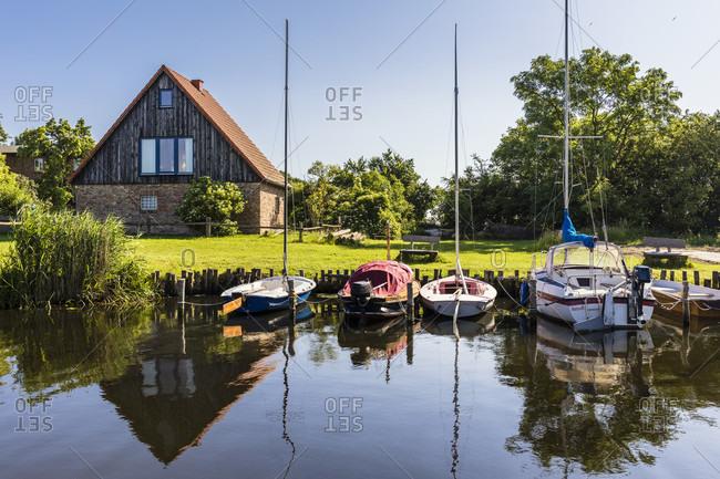 June 19, 2017: Little fishing harbor, Warthe in Lieper Winkel area, Rankwitz, Usedom Island, Baltic Sea, Mecklenburg-Vorpommern, Mecklenburg-Western Pomerania, Germany