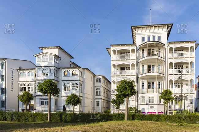 June 20, 2017: Bathing resort architecture at the Baltic Seaside Resort of Binz, Ruegen Island, Insel Rügen, Baltic Sea, Mecklenburg-Vorpommern, Mecklenburg-Western Pomerania, Germany