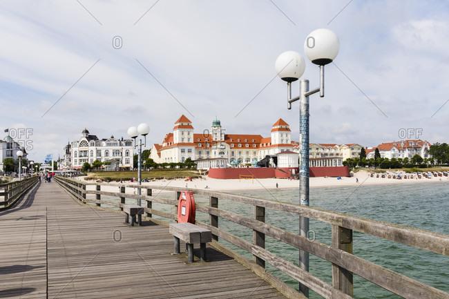 June 20, 2017: Pier and Kurhaus, Spa House, Seaside Resort of Binz, Ruegen Island, Insel Rügen, Baltic Sea, Mecklenburg-Vorpommern, Mecklenburg-Western Pomerania, Germany
