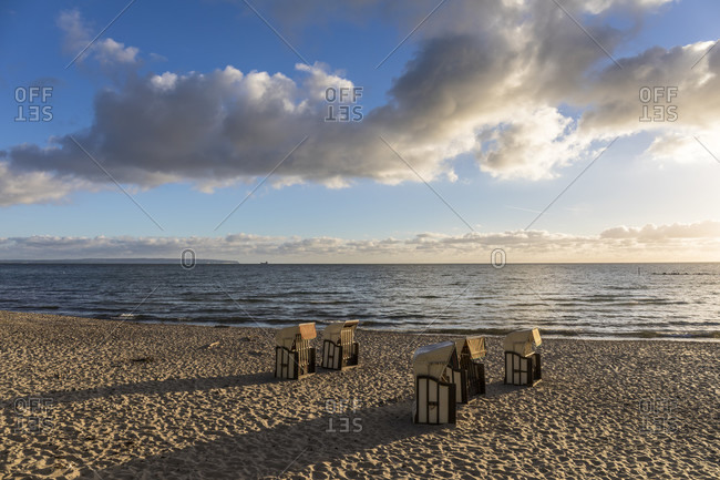 Roofed wicker chairs on the beach, Baltic Seaside Resort of Sellin, Ruegen Island, Insel Rügen, Baltic Sea, Mecklenburg-Vorpommern, Mecklenburg-Western Pomerania, Germany