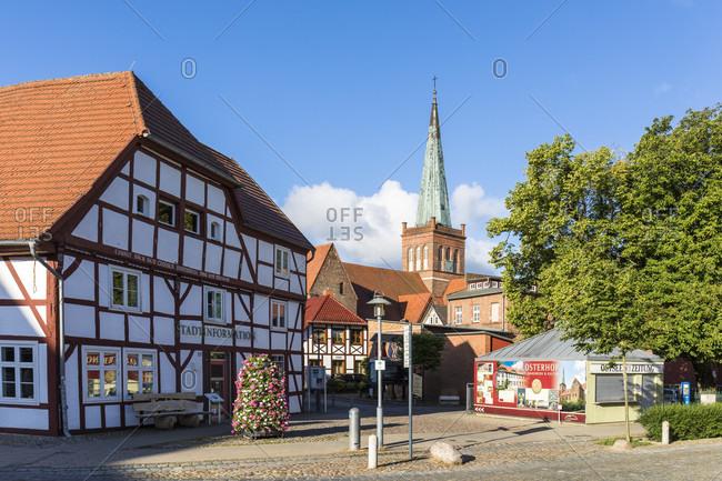 June 21, 2017: Half-timbered house by the St.-Marien church in the city center of Bergen auf Ruegen, Ruegen Island, Insel Rügen, Baltic Sea, Mecklenburg-Vorpommern, Mecklenburg-Western Pomerania, Germany