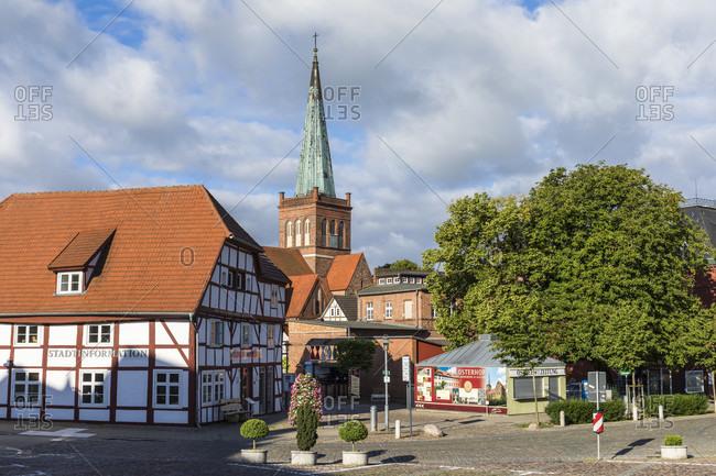 June 21, 2017: Half-timbered house by the St.-Marien church in the city center of Bergen on Ruegen, Ruegen Island, Insel Rügen, Baltic Sea, Mecklenburg-Vorpommern, Mecklenburg-Western Pomerania, Germany