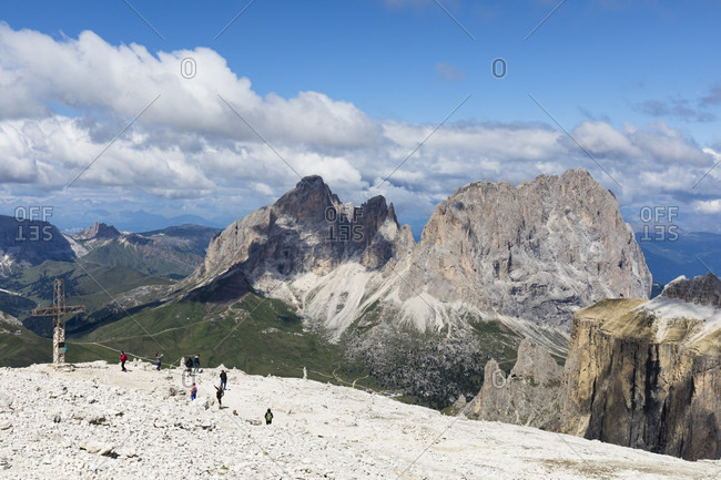 July 15, 2017: Sass Pordoi Mountain (2950m) with view of Sella Pass and Langkofel Group (3181m), Dolomites, Trentino-South Tyrol, Italy