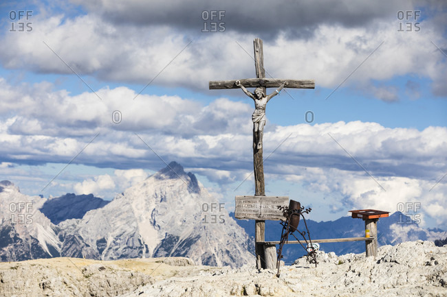 July 15, 2017: Memorial cross of the First World War on the top of Lagazuoi (2778m), Cortina d'Ampezzo, Dolomites, Veneto Province Belluno, Italy