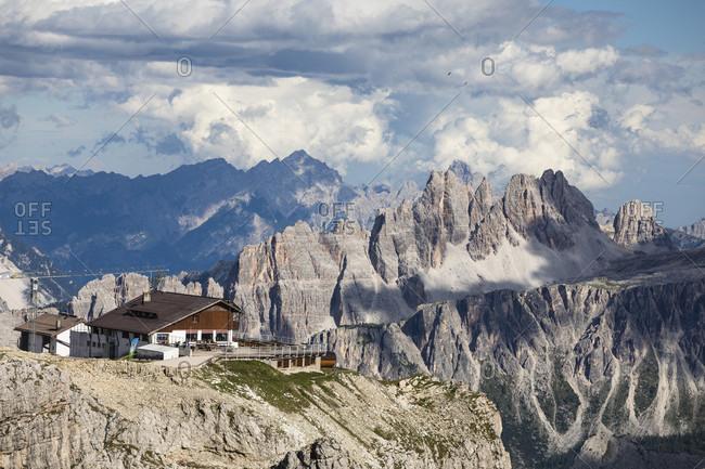 July 15, 2017: Lagazuoi Refuge in front of Croda da Lago (2700m), Cortina d'Ampezzo, Cadore, Belluno district, Dolomites, Veneto, Italy
