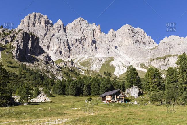 Mountain Chalet in the Catinaccio (Rosengarten) in the Valle del Vaiolet, Vigo di Fassa, Val di Fassa, Alps, Dolomites, Trentino, Alto Adige, South Tyrol, Italy
