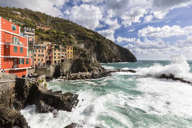 September 17, 2017: Strong waves in front of Riomaggiore, Cinque Terre, Riviera di Levante, Provinz La Spezia, Parco Nazionale delle Cinque Terre, Mediterranean sea, Liguria, Italy
