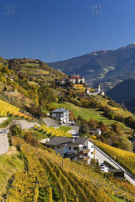Sabiona monastery (Kloster Saeben) towards Isarco valley and Dolomites mountains, Klausen, Chiusa, Isarco Valley, Dolomites, Bolzano district, TrentinoAlto Adige, South Tyrol, Italy