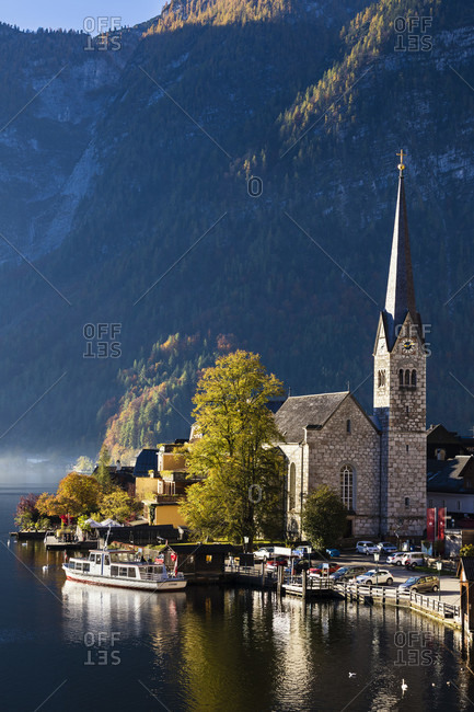 October 16, 2017: Protestantic Church in the town of Hallstatt on Lake Hallstatt in autumn, UNESCO World Heritage Site, Salzkammergut, Upper Austria, Austria