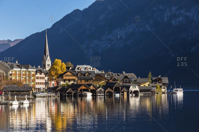October 16, 2017: Town of Hallstatt on Lake Hallstatt in autumn, UNESCO World Heritage Site, Salzkammergut, Upper Austria, Austria