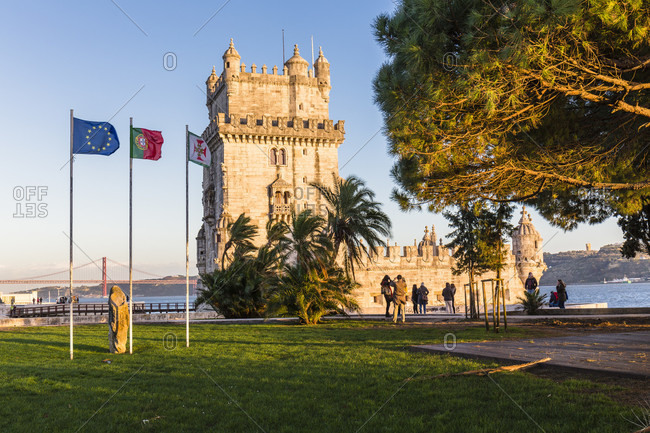 February 15, 2016: Torre de Belem on the Tejo River, UNESCO World Heritage Monument, Lisbon, Portugal