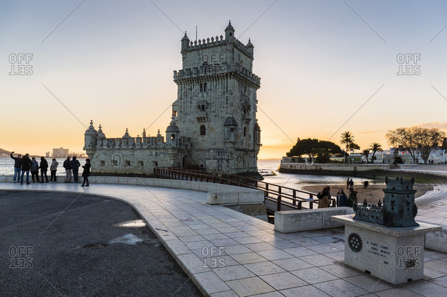 February 15, 2016: Torre de Belem on the Tejo River at sunset, UNESCO World Heritage Monument, Lisbon, Portugal
