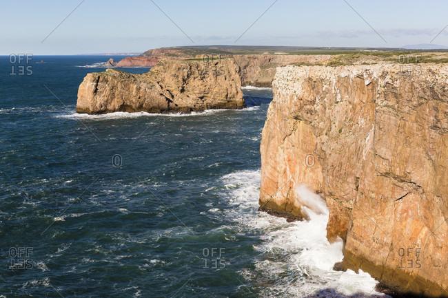 Steep coast at Cabo de Sao Vicente, Sagres, Algarve, Portugal