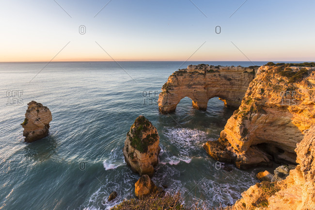Praia da Marinha at sunrise, Lagoa, Algarve, Portugal
