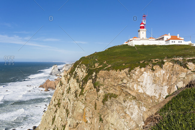 Lighthouse at Cabo da Roca, the westernmost extent of mainland in Europe, Sintra-Cascais Nature Park, Sintra, Greater Lisbon, Portugal
