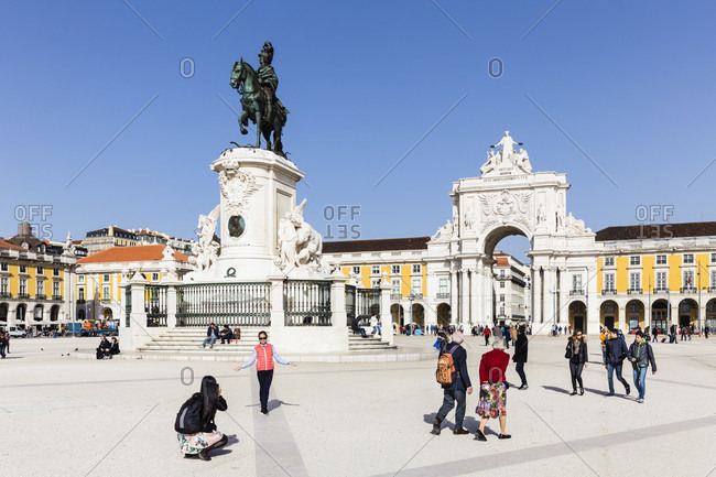 February 21, 2016: Statue of King Jose in front of the City Gate Arco Triunfal da Rua Augusta at Praca do Comercio, Baixa, Lisbon, Portugal