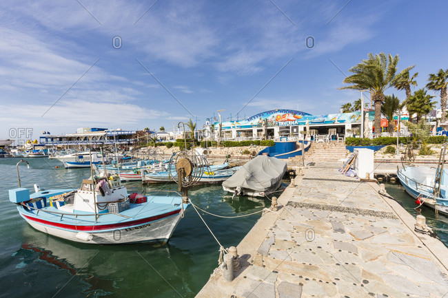 March 8, 2016: Fishing boats at the harbor, Agia Napa, Cyprus