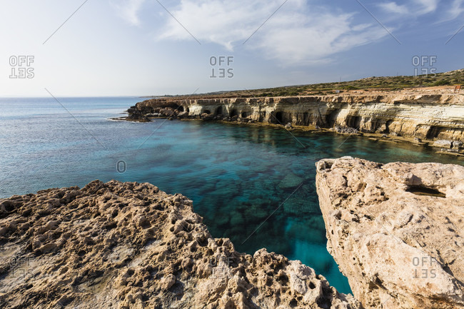 Steep coast with caves, Cape Greco, National Forest Park, Agia Napa, Cyprus